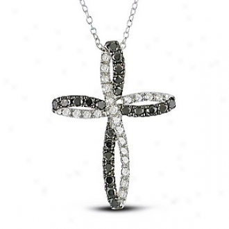Amour 1 Ct Diamond Tw Religious Pendant With Chain Rhodium Plated Black And White