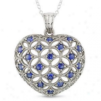 Amour 1 Ct Tgw Created Sapphire Heart Pendant With Chain, Blue And Silver
