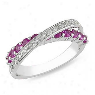 Amour 1/10 Ct Diamond Tw And 1 Ct Tgw Created Pink Sapphire Fashion Ring Silver Ghi, 9