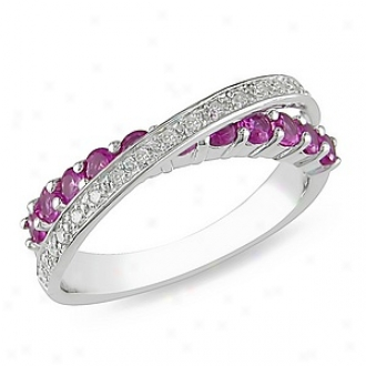 Amour 1/10 Ct Diamond Tw And 1 Ct Tgw Created Pink Sapphire Fashion Ring Silver Ghi, 5