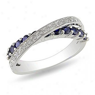 Amour 1/10 Ct Diamond Tw And 7/8 Ct Tgw Created Sapphire Fashion Ring Silver, 9