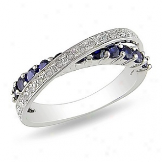 Amour 1/10 Ct Diamond Tw And 7/8 Ct Tgw Created Sapphire Fashion Ring Silver, 6