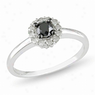 Affair of gallantry 1/2 Ct Black And White Diamond Tw Engagement Ring Silver I3, 9