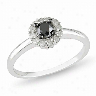Amour 1/2 Ct Black And White Diamond Tw Engagement Ring Silver I3, 7