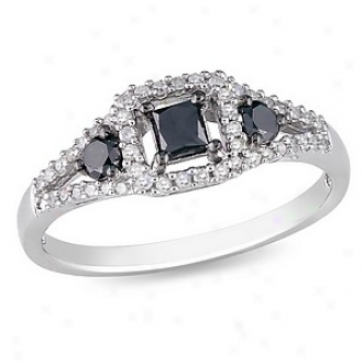 Amour 1/2 Ct Black And White Diamond Tw Fashion Ring Silver, 5
