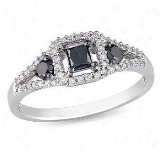 Amour 1/2 Ct Black And White Diamond Tw Fashion Ring Silver, 6