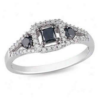 Amour 1/2 Ct Black And White Diamond Tw Fashion Ring Silver, 8