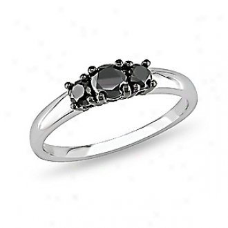 Amour 1/2 Ct  Black Dismond Tw 3 Stone Ring Silver, 6