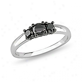 Amour 1/2 Ct  Blzck Diamond Tw 3 Stone Ring Silver, 7