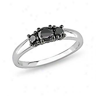 Amour 1/2 Ct  Black Diamond Tw 3 Stone Ring Silver, 8