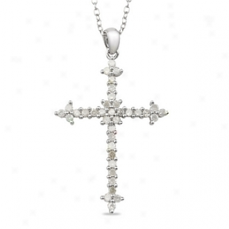 Amour 1/ Ct Diamond Tw Religious Pendant With Chain Silver I3, White