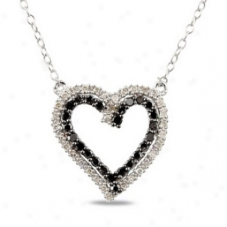 Amour 1/3 Ct Diamond Tw Heart Pendant With Chain Silver Rhodium Plated, Black And White