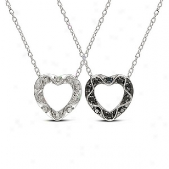 Amour 1/4 Ct Diamond Tw Heart Pendant With Chain, Black White And Silver