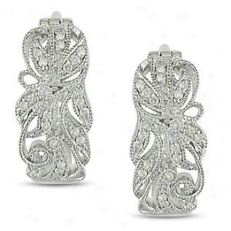 Amour 1/6 Ct Diamond Tw Hoop Earrings Silver I3,_White