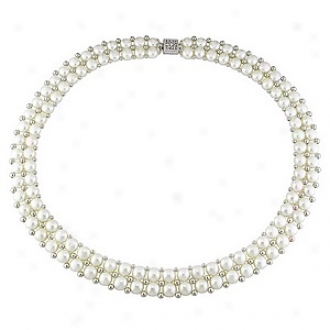 Affair of gallantry 17in 6-7mm Cultured Fw Button Pearl Double-row Necklace With Beads, Whjte And Silver