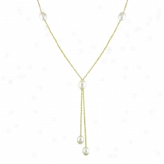 Amour1 8in 10ky 8-8.5mm Fw Rice Drop Lariat Necklace, White