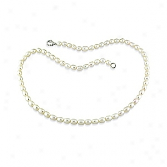 Amour 18in 5-5.5mm Fw Rice Pearl Necklace W/metal Clasp, White