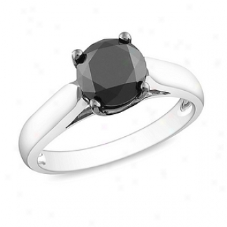 Amour 2 Ct Black Diamond Tw Fashion Ring Silver Mourning Rhodium Plated, 8