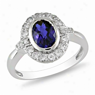 Amour 2 Ct Tgw Whte Topaz Created Sapphire Fashion Ring Silver, 10