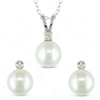 Amour 2pcs Set Of 1/10ct Tdw & 8-8.5mm Rd Fw Cultured Pearl Earrings & Pendant, Happy And Silver