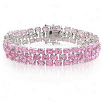 Amour 37 Cy Tgw Crewted Sapphie Bracelet Silver 7in, Plnk