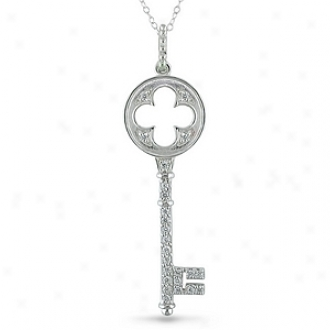 Amoour 3/8 Ct Tgw Cubic Zirconia Key Pendant With Chain, White And Silver