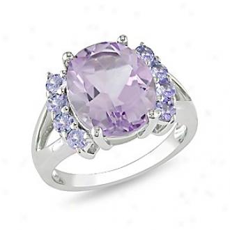 Amour 4 1/2 Ct Tgw Amethyst Tanzanite Fashion Ring Silver, 7