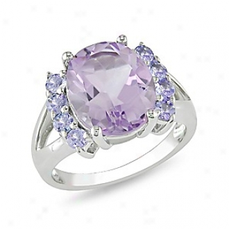 Amour 4 1/2 Ct Tgw Amethyst Tanzanite Fashion Ring Silver, 9