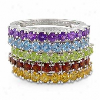 Amour 5 Rings 3-1/2ct Tgw  Rd 2.5mm Garnet, Peridot, Sky Bt, Citrine, & Amethyst, 9