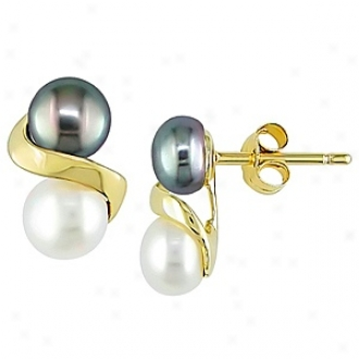 Affair of gallantry 5.5 -  6Mm Freshwater Pearl Ear Pin Earrings 10k, Black And White