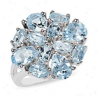 Amour 6 Ct Tgw Blue Topaz - Sky White Topaz Fashion Ring Silver, 9