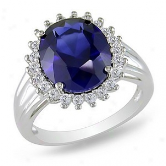 Amour 7 7/8 Ct Tgw Created Sapphire White Topaz Fashion Ring Silvee, 8
