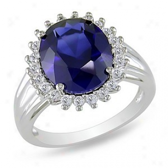 Amour 7 7/8 Ct Tgw Created Sapphire White Topaz Fashion Ring Silver, 10