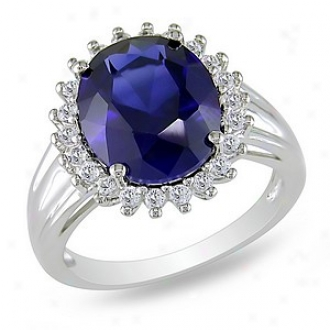 Amour 7 7/8 Ct Tgw Created Sapphire White Topaz Fashion Sound Silver, 6