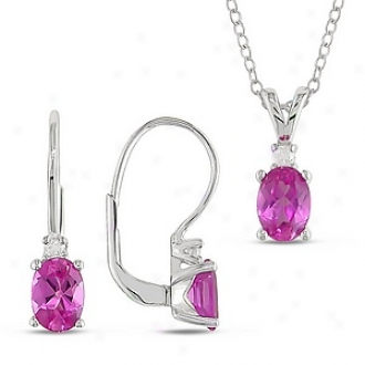 Amour Pendant & Leverback Earring (1/6ct Tdw & 3ct Tgw) W/ Oval 7x5mm Created Sapphire, White And Stab