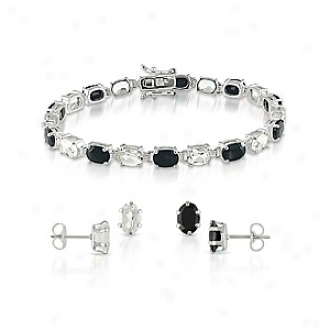 Amour Silver 25ct Tgw 7x5mm Oval Sapphire Topaz Post Earrings 7in Bracelet, Black And White