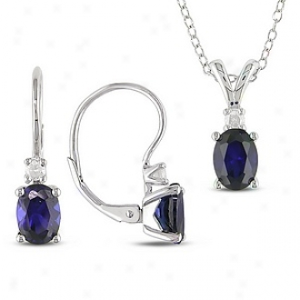 Amour Silver Pendant Leverback Earring 1/6ct Tdw 3ct Tgw Oval 7x5mm Created Sapphire, Blue