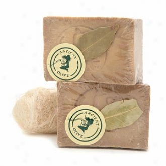 Ancient Olive-green Natural Olive Oil & Laurel Oil Bar Soap Attending Loofah Scrub