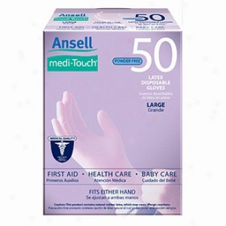 Ansell Medi-touch Powder Free Latex Disposable Gloves, Large