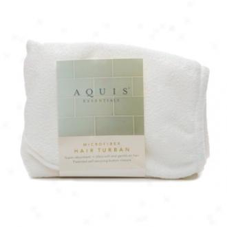 Aquis Essentials Mocrofiber Hair Turban With Button Closure, White