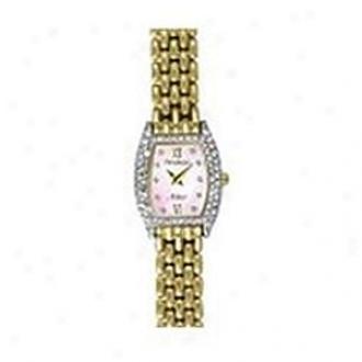 Armitron Watch Ladies Goldtone Link Bracelet Watch With Crystals