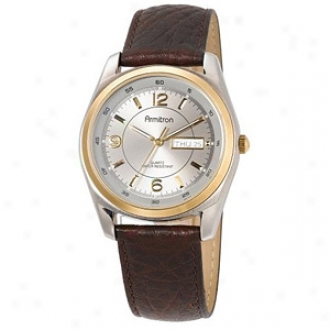Armitron Watch Mens Two Tone Stainless Steel Case Brown Strap