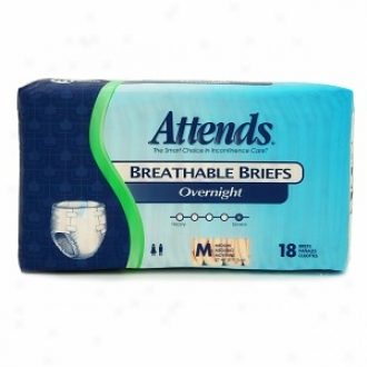 Attends Breathable Briefs Overnight Medium (32in-44in)