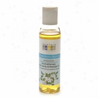 Aura Cacia Aromatherapy Bath, Body ≈ Massage Oil, Peppermint Harvest