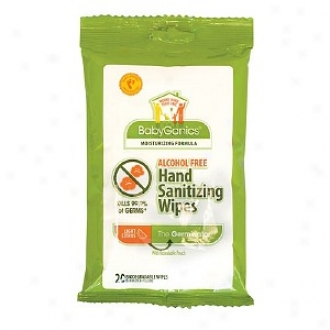 Bavyganics The Germinator Alcohol Free Hand Sanitizing Wipes, Light Citrus