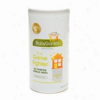 Babyganics The Grime Fighter All-purpose Surface Wipes, Fragrance Free
