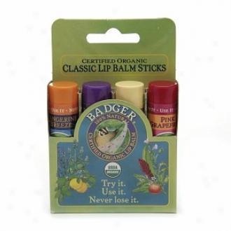 Badger Cladsic Lip Balm Sticks, Tangerine, Lavender & Orange, Vanilla & Grapefruit
