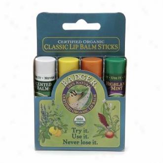 Badger Classic Lip Balm Sticks, Unscented, Ginger Lemo, Tangerine  & Invent