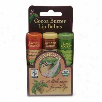 Badger Cocoa Butter Lip Balms, Sweet Orange, Quick~ Rocket  & Creamy Cocoa