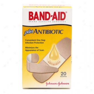 Band-aid Plus Antibiotic Adhesive Bandages More Antibiotic, Assorted Sizes